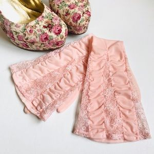 VINTAGE PINK SHEER LONG GLOVES LACE ELBOW LENGTH